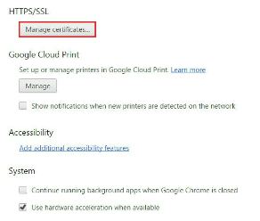 Chrome - Manage certificates
