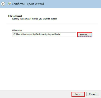 Internet Explorer - Certificate Export Wizard